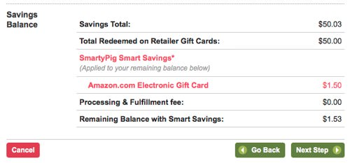 SmartyPig - Reddeming a retail gift card