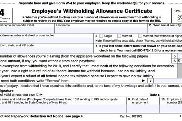 IRS Form W-4 - Adjust Tax Withholding