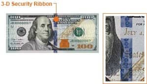 $100 bill 3D security ribbon